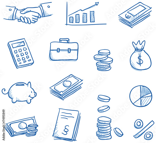 Icon set business & finance with money - 74915849