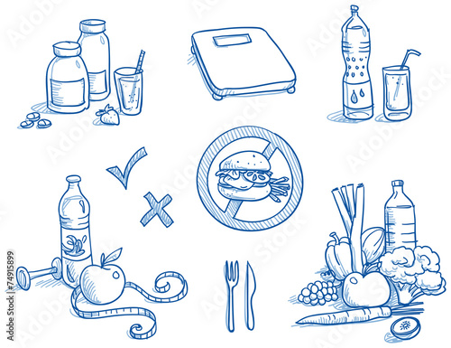 Icon set healthy food nutrition, water, apple, hand drawn vector - 74915899
