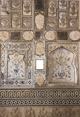 Detail of mirrored silver tiles inside the Amber fort
