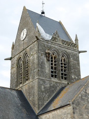 Paratrooper dummy on St Mere Eglise bell tower, Normandy