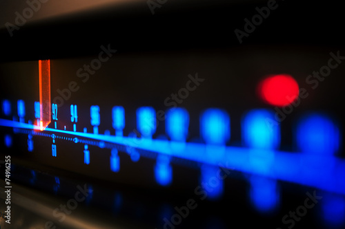 Leinwanddruck Bild stereo receiver tuning scale