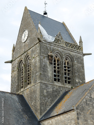 Poster Paratrooper dummy on St Mere Eglise bell tower, Normandy
