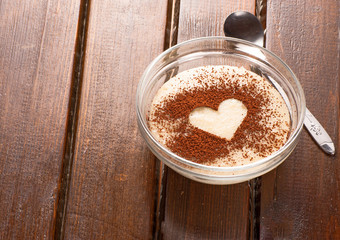 Grits with cocoa heart on top