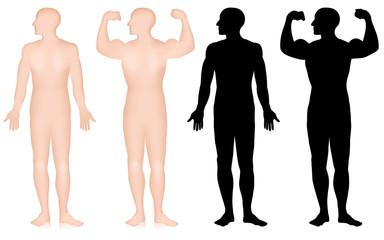 mensch silhouette, bodybuilder