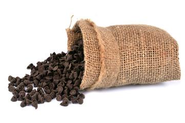 Sac de pépites de chocolat renversé