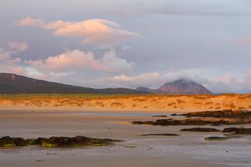 Mt Errigal as seen from a beach near Bunbeg in Donegal, Ireland.