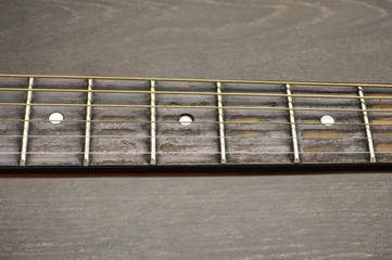 Acoustic guitar fretboard isolated