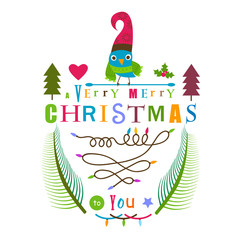 christmas greeting design with bird