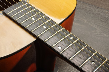 Acoustic guitar heel or neckjoint close up