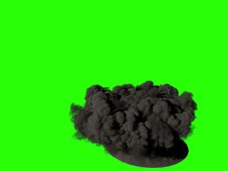 Fumée noire sur fond vert