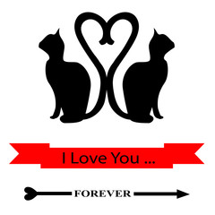 Cats Silhouetted in Love Forever