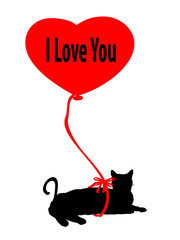 A Cat with a Red Balloon Tied Around It