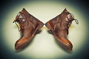 New fashion leather handmade shoes, cowboy style. Grunge style.