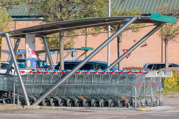 empty shopping carts stacked together