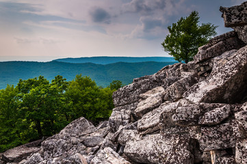 View of the Appalachians from the boulder-covered slopes of Dunc