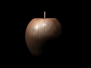 Mela in legno fondo scuro