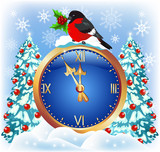 Christmas chimes with bullfinch poster