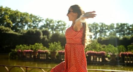 Beautiful Young Woman Running Park Lake Joy Vacation Concept