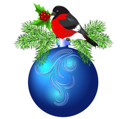 Christmas blue ball with bullfinch and spruce