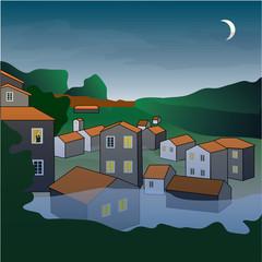 Night in Orange Roofs' City