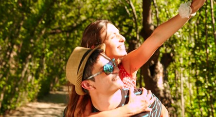 Happy Couple Piggyback Ride Outdoors Park Happiness Concept