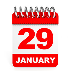 Calendar on white background. 29 January.