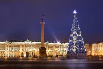 Russia, Saint-Petersburg, Christmas tree lighting at night, near
