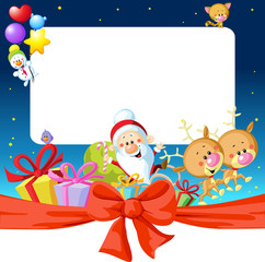 night christmas frame with Santa Claus, reindeer and snowman