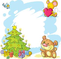 christmas frame with teddy bear, cute mouse and bird