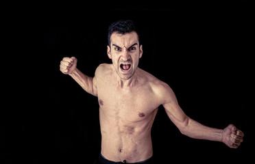 aggressive man portrait