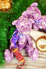 Two handmade provence tilda Teddy bear toys on christmas