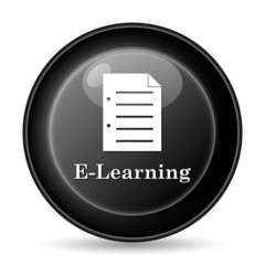 E-learning icon. Internet button on white background..