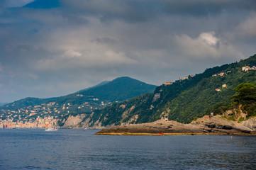 Sand beach in Camogli by Genova, Italy