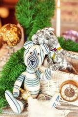 Two handmade christmas provence tilda Teddy bear toys