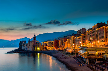 Beautiful Sunset on the Pebble Beach in Camogli near Genoa