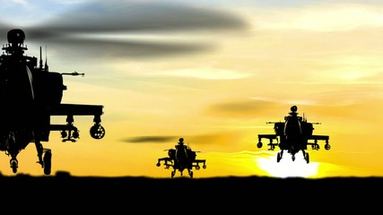 Helicopters Missile attack at sunset