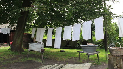 Laundry hanging on clothesline. Old, vintage lusatian farm