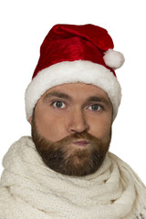Sad Santa. isolated portrait of upset man wearing santa hat