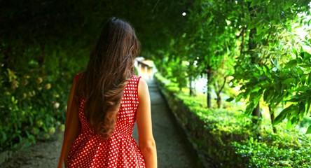 Woman Walking Beautiful Nature Path Corridor Foliage Summer