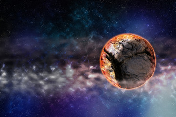 Cracked planet in deep space