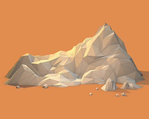 Geometric 3d Mountain Scene