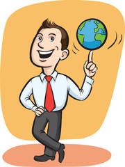 Businessman spinning globe on finger