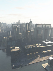 Future City - the Canal District with Copy Space in Sky