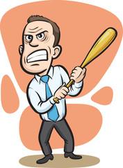 Businessman holding a baseball club