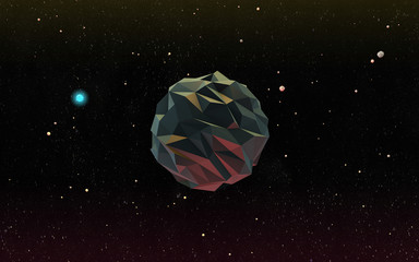 Low-Poly 3D Moon in Outer Space