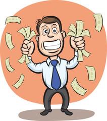 Businessman shaking money banknotes