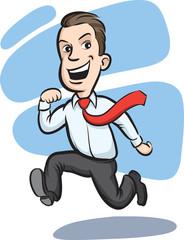 Businessman running happy
