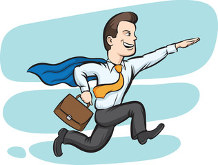Businessman running like superman