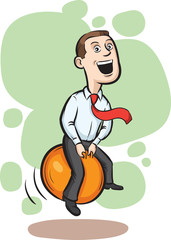 Businessman bouncing on space hopper