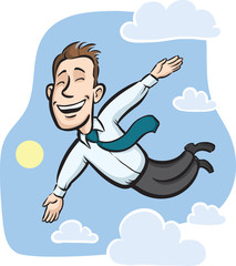 Businessman flying in the sky